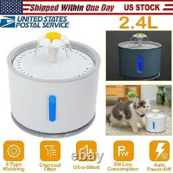 2.4L/1.6L Pets Cat Automatic Water Bowl Drinking Fountain Water Dispenser Fliter