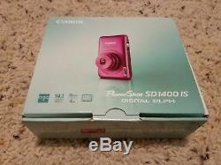 Brand New Canon PowerShot SD1400IS 14.1MP Digital Camera SD1400 IS 4x Zoom Pink