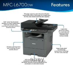 Brother MFC-L6700DW Wireless Black-and-White All In One Laser Printer Black