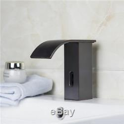 Electronic Automatic Sensor Bathroom Mono Basin Sink Tap Waterfall Faucet Black