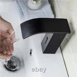 Waterfall Electronic Automatic Sensor Bathroom Sink Faucet Touchless in Black